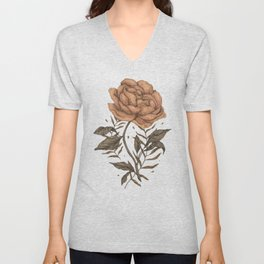 Peony and Ferns Unisex V-Neck