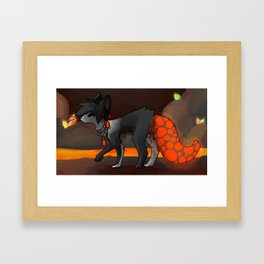Neal in the lava tunnels Framed Art Print