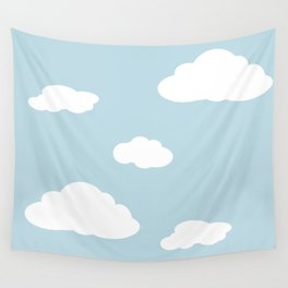 Paper Airplane - You Can Fly - Cloud Variation - Robin's Egg Wall Tapestry