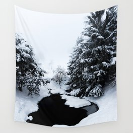 Snowy pond and trees disappearing in fog Wall Tapestry