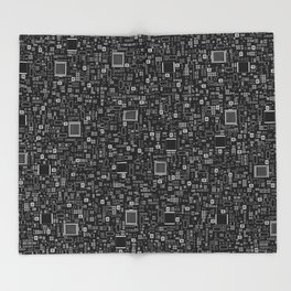 All Tech Line INVERTED / Highly detailed computer circuit board pattern Throw Blanket