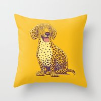 daschund Throw Pillows featuring Take a Woof on the Wild Side! by victor calahan