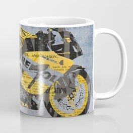 Honda Repsol newspaper collage, original art for men, gift for him, blue, yellow Coffee Mug