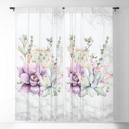 Succulents Marble Mint + Purple Watercolor by Nature Magick Blackout Curtain