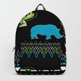 African Rhino (Cool colors) Backpack