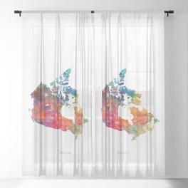Canada Watercolor Map by Zouzounio Art Sheer Curtain