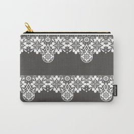White seamless lace pattern on gray background Carry-All Pouch