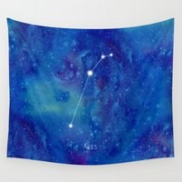 constellation Wall Tapestries featuring Constellation Aries by ShaMiLa