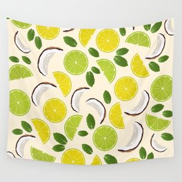 Lime Lemon Coconut Mint pattern Wall Tapestry