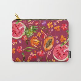 Tropical Fruit Festival in Red | Frutas Tropicales en Rojo Carry-All Pouch