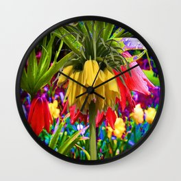 FANTASY ART YELLOW CROWN IMPERIAL FLOWERS Wall Clock