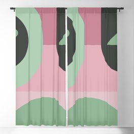 Art Deco Composition Pink and Green #1 Blackout Curtain