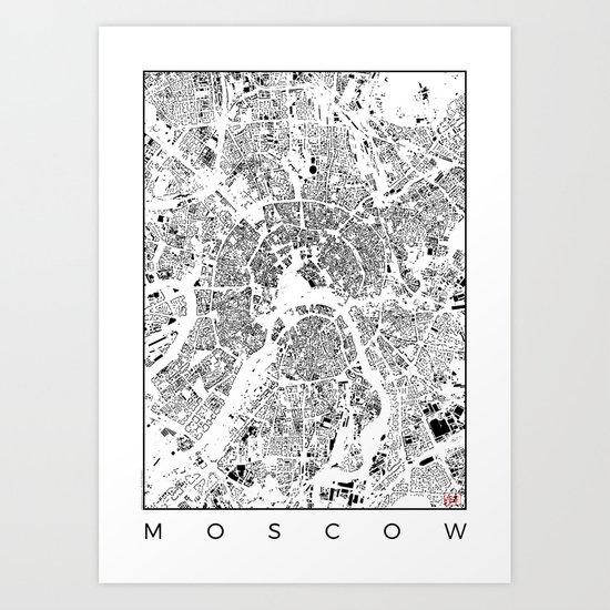 Moscow Map Schwarzplan Only Buildings Art Print