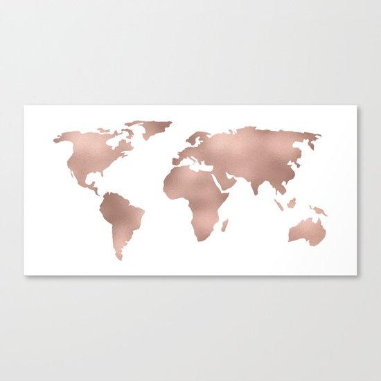 World Map Rose Gold Shimmer Canvas Print
