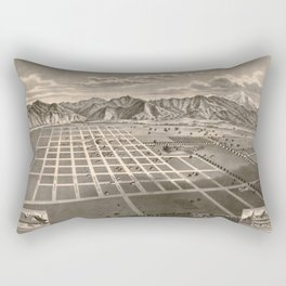 Vintage Bird's Eye Map Illustration - Azusa, California (1887) Rectangular Pillow