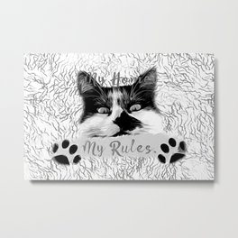 cat my home my rules vector art black white gray Metal Print
