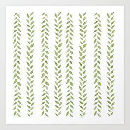 Matcha Greens - nature spring leaves green pattern Art Print