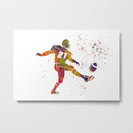 American football player in watercolor 33 Metal Print