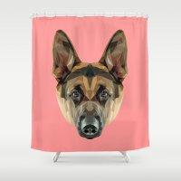 german shepherd Shower Curtains featuring German Shepherd // Pink by peachandguava