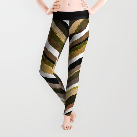 Green/Yellow/Brown Slice Leggings