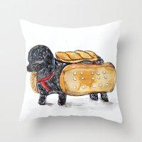 hot dog Throw Pillows featuring Hot Dog by Mandarin Duck Craft