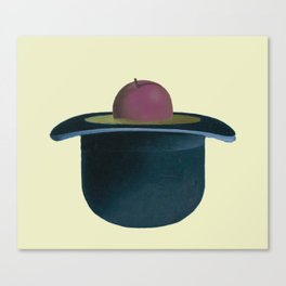 A single plum floating in perfume served in a man's hat. Canvas Print