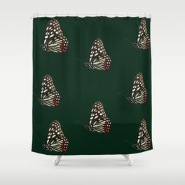 Forest Green Butterfly Pattern Print Shower Curtain