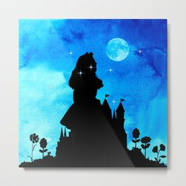 Magical Watercolor Night - Alice In Wonderland Metal Print