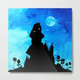 Magical Watercolor Night - Alice In Wonderland Metal Print