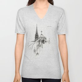 Notre Dame Cathedral Sketch Unisex V-Neck
