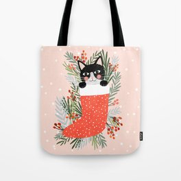 Cat on a sock. Holiday. Christmas Tote Bag