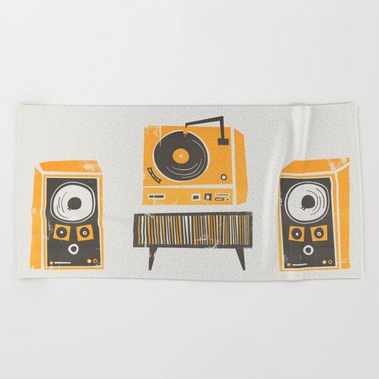 Vinyl Deck And Speakers Beach Towel