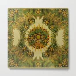 """Floral farm (burlap texture)"" Metal Print"