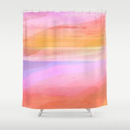 Seascape in Shades of Peach Purple and Pink Shower Curtain