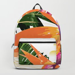 Tropical Bird of Paradise Flower Backpack