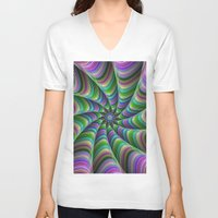striped V-neck T-shirts featuring Striped tentacles by David Zydd