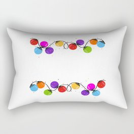 Colorful Christmas light bulb round shape new year greeting card vector Rectangular Pillow