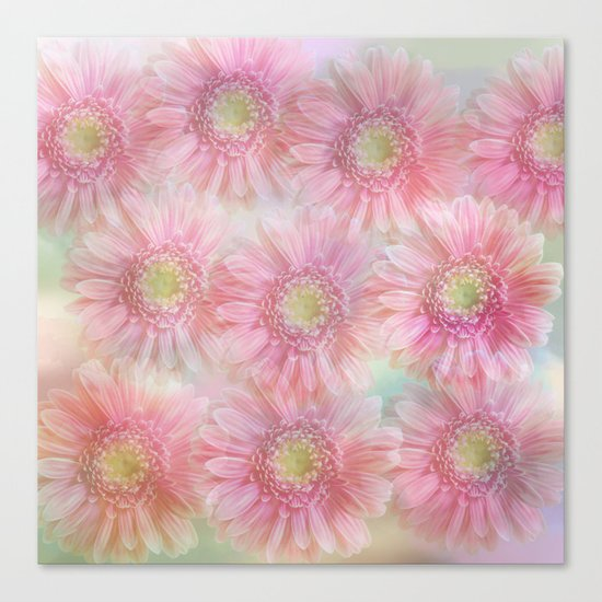 Pink daisies on a pastel background. Canvas Print