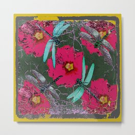 SHABBY CHIC BLUE DRAGONFLIES ON  FUCHSIA HOLLYHOCK FLOWERS Metal Print