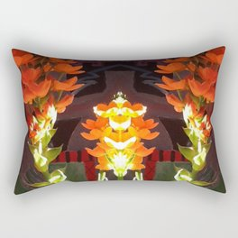 Symmetrical Red Flowers in Striped Pot Rectangular Pillow