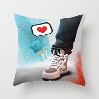 sneaker Throw Pillows featuring sneaker Love by Dominik Gottherr