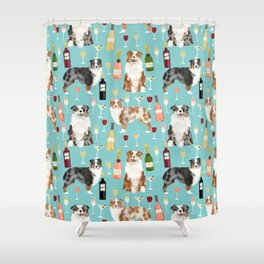 Australian Shepherd blue and red merle wine cocktails yappy hour pattern dog breed Shower Curtain