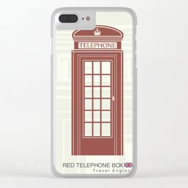 figure of a red telephone booth in England Clear iPhone Case