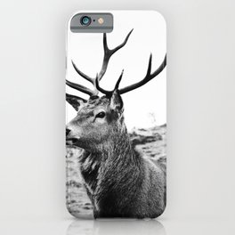 The Stag on the hill - b/w iPhone Case