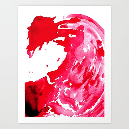 The One Who Came by Water and Blood. Watercolor Red Wave Art Print