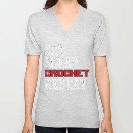 Crocheting Needle Works Needlecraft Stitching Eat Sleep Crochet Repeat Gift Unisex V-Neck