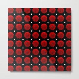 Red Carnation Polka Dot Metal Print