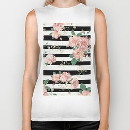 VINTAGE FLORAL ROSES BLACK AND WHITE STRIPES Biker Tank