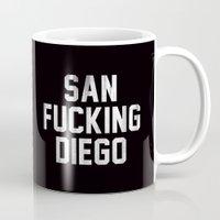 san diego Mugs featuring San Fucking Diego by RexLambo