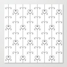 Black & White Hearts Canvas Print